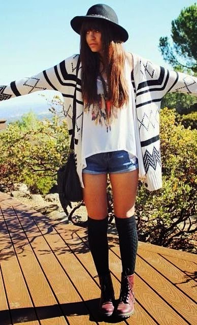 brown combat boots with High waisted shorts