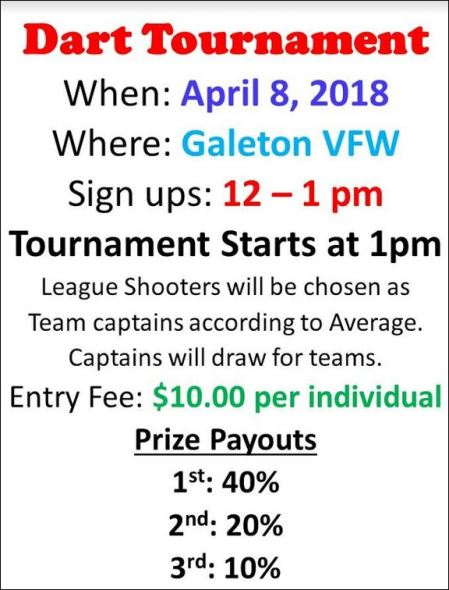 4-8 Dart Tournament Galeton VFW