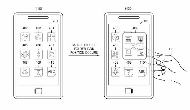 На этом рисунке показано, как выбрать иконки с задней панели телефона