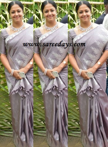 Latest saree designs jyothika in gray silk saree checkout suriya wife jyothika in gray silk saree with pochampally border and paired with matching half sleeves blouse altavistaventures Image collections