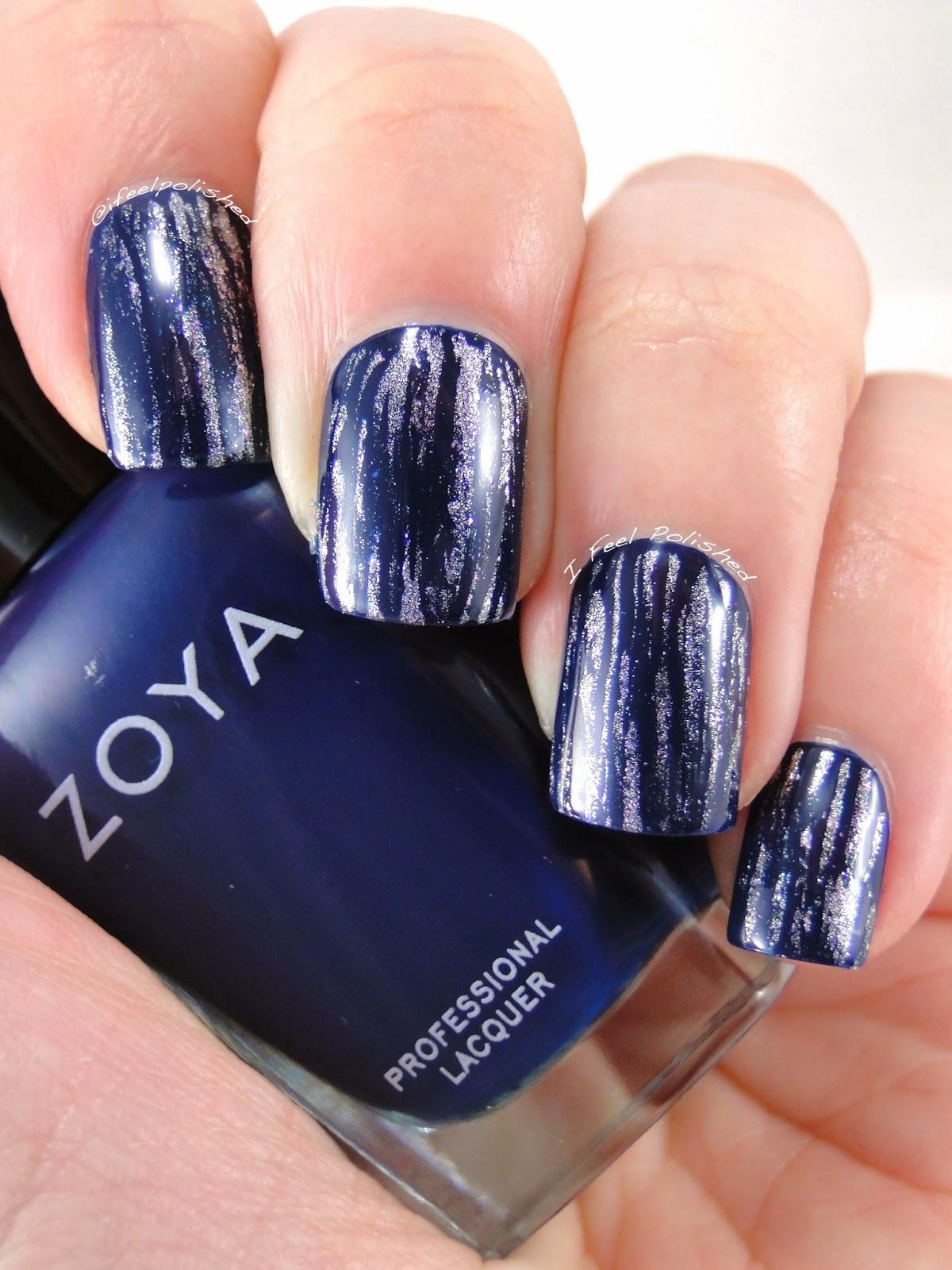 I Feel Polished!: Blue & Silver Fan Brush Nails