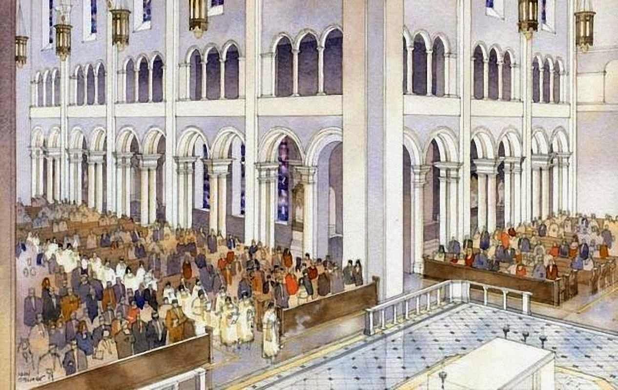 Projeto do interior da nova catedral de West Raleigh