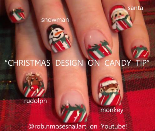 monkey nail, snowman nail, santa nail, rudolph nail, red nose nail ...