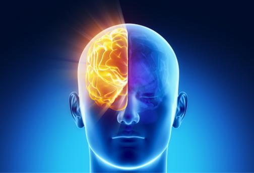 Rostro humano destacando hemisferio derecho en color amarillo. Fig azul, fondo azul
