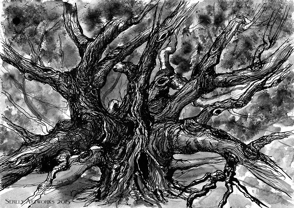 india ink on paper, watercolor, drawing, art, fantasy, nightmare, tree