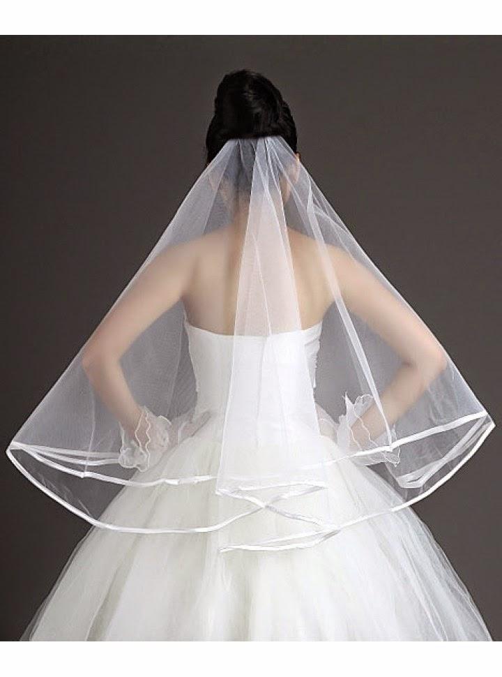 Velo Sencillo para Vestido de Novia de una Capa con Ribete Blanco