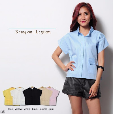 Kemeja Hem Croptee Pocket Top - 10418
