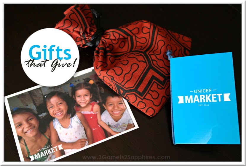 Gifts that give from UNICEF Market  |  www.3Garnets2Sapphires.com