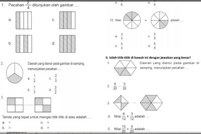 Soal-soal Pecahan Matematika Kelas 3 Semester 2