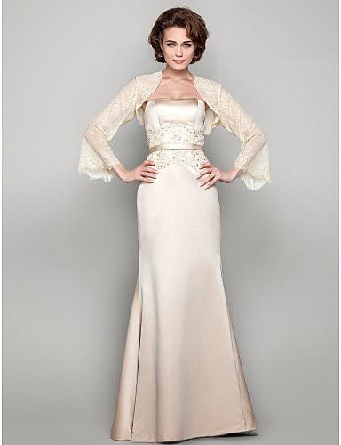 Vestido Madrina de Satén color Marfil