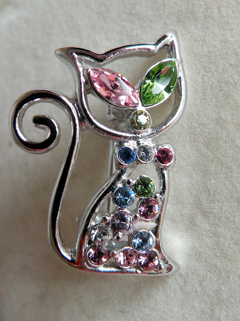Swarovski cat brooch