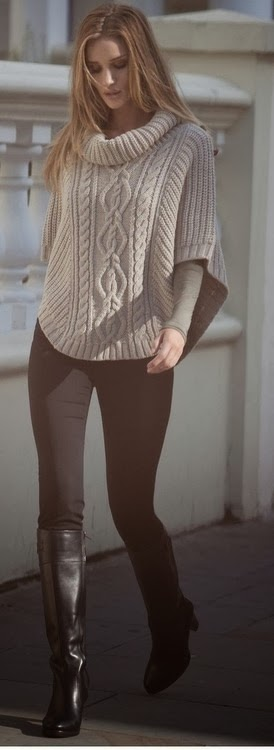 Oversize long neck sweater with black leggings and black long boots for fall