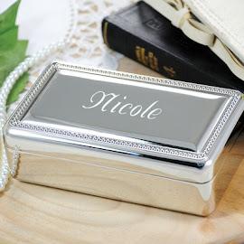 Beaded Monogram Memory Box Jewelry Box
