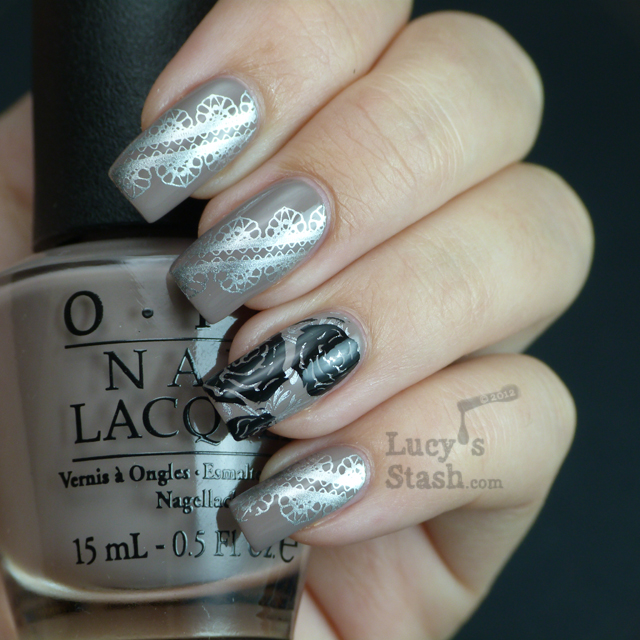 Lucy's Stash - Lace & Roses stamping nail art
