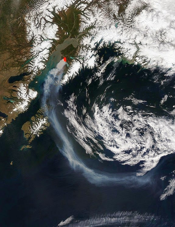 Satellite view of fire (Credit: NASA) Click to enlarge.