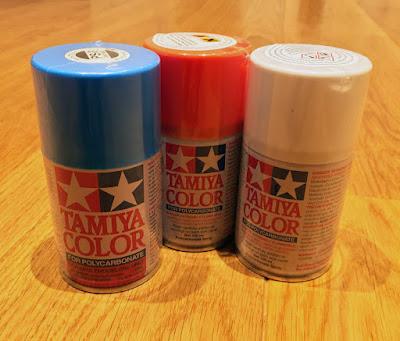 Tamiya Polycarbonate paints, Blue Orange and White