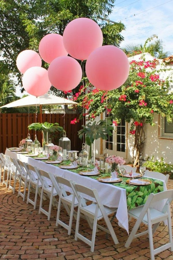 decoración con globos para baby shower