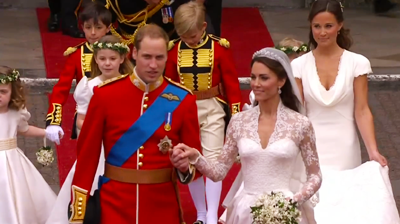 The newlyweds walk out of the Abbey followed by maid of honour. YouTube 2011.