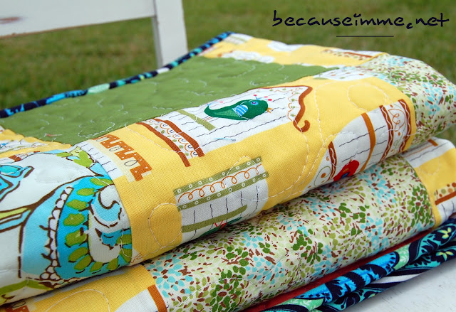 Because I'm Me small girls For The Birds quilt with yellow and floral