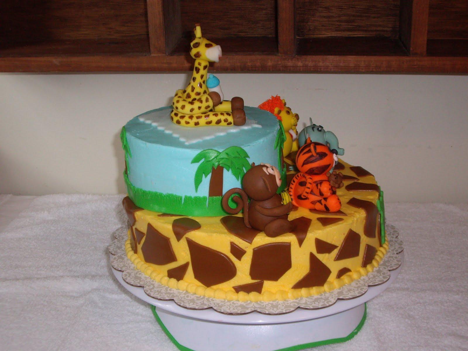 custom cakes by christy jungle animals shower cake