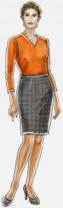 Pattern company's illustration of Lekala 5088, a classic straight skirt