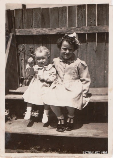 two little girls sitting on timber shelving against a timber fence