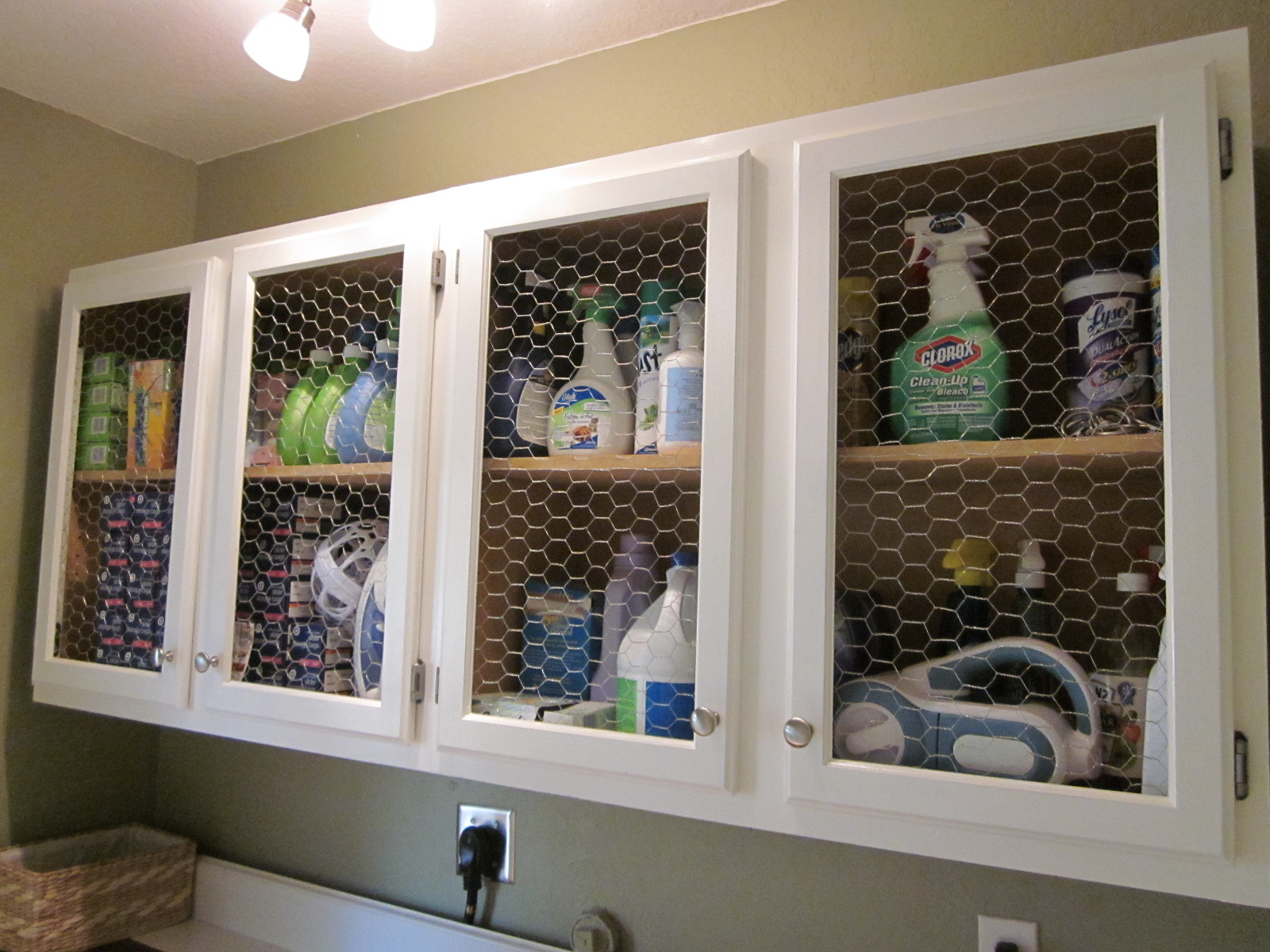 Laundry Room Cabinets with Chicken Wire