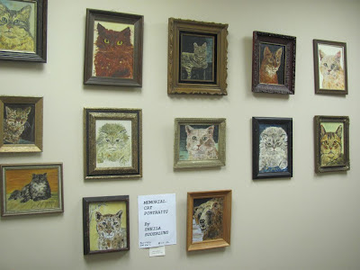 Cat paintings by Sheila Bowen Soderlund at Art House Gallery in Clearlake