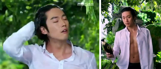 Jang Hyuk 장혁 as Lee Gun striking sexy poses with his shampoo.