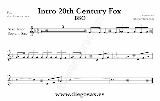 Partitura de la Sintonía de la 20th Century Fox para Saxofón Soprano y Saxo Tenor by Alfred Newman Sheet Music for Soprano Sax and Tenor Saxophone Music Scores