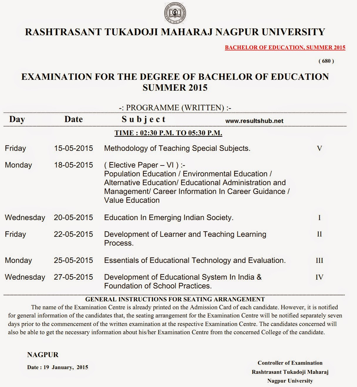 B.Ed. Summer 2015 Timetable Nagpur University