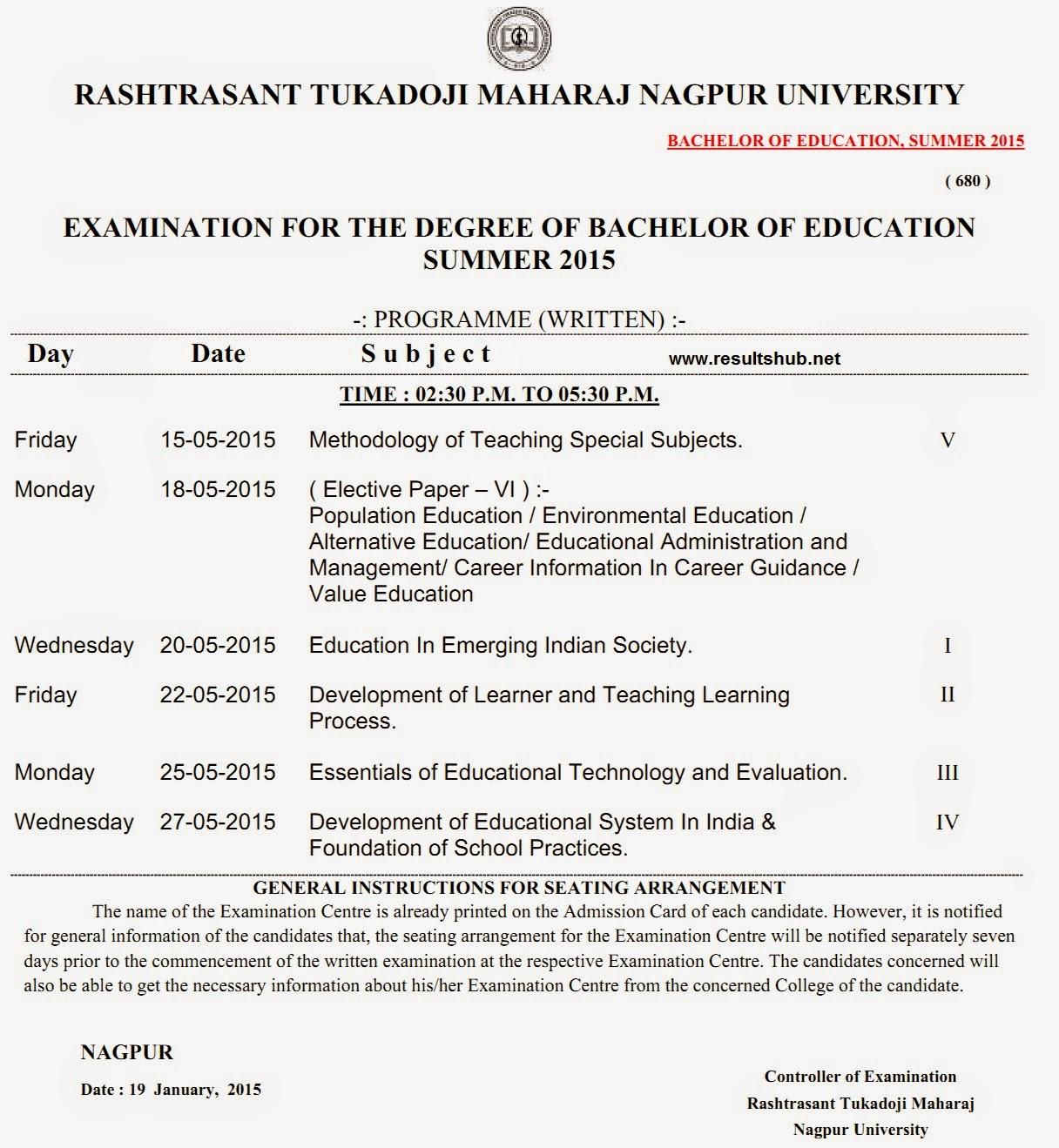 B.Ed. Summer 2015 Timetable Nagpur University