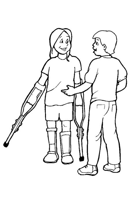 صورة طفل يساعد صديقه الذي يحمل العكازة للتلوين