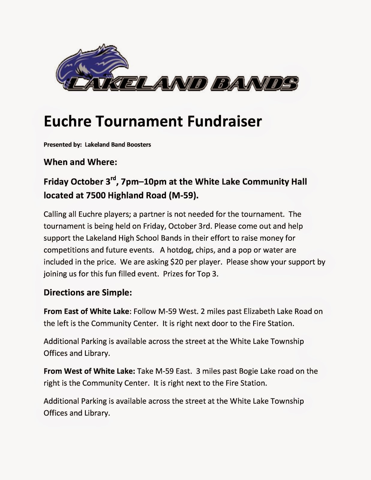 Euchre Tournament Fundraiser