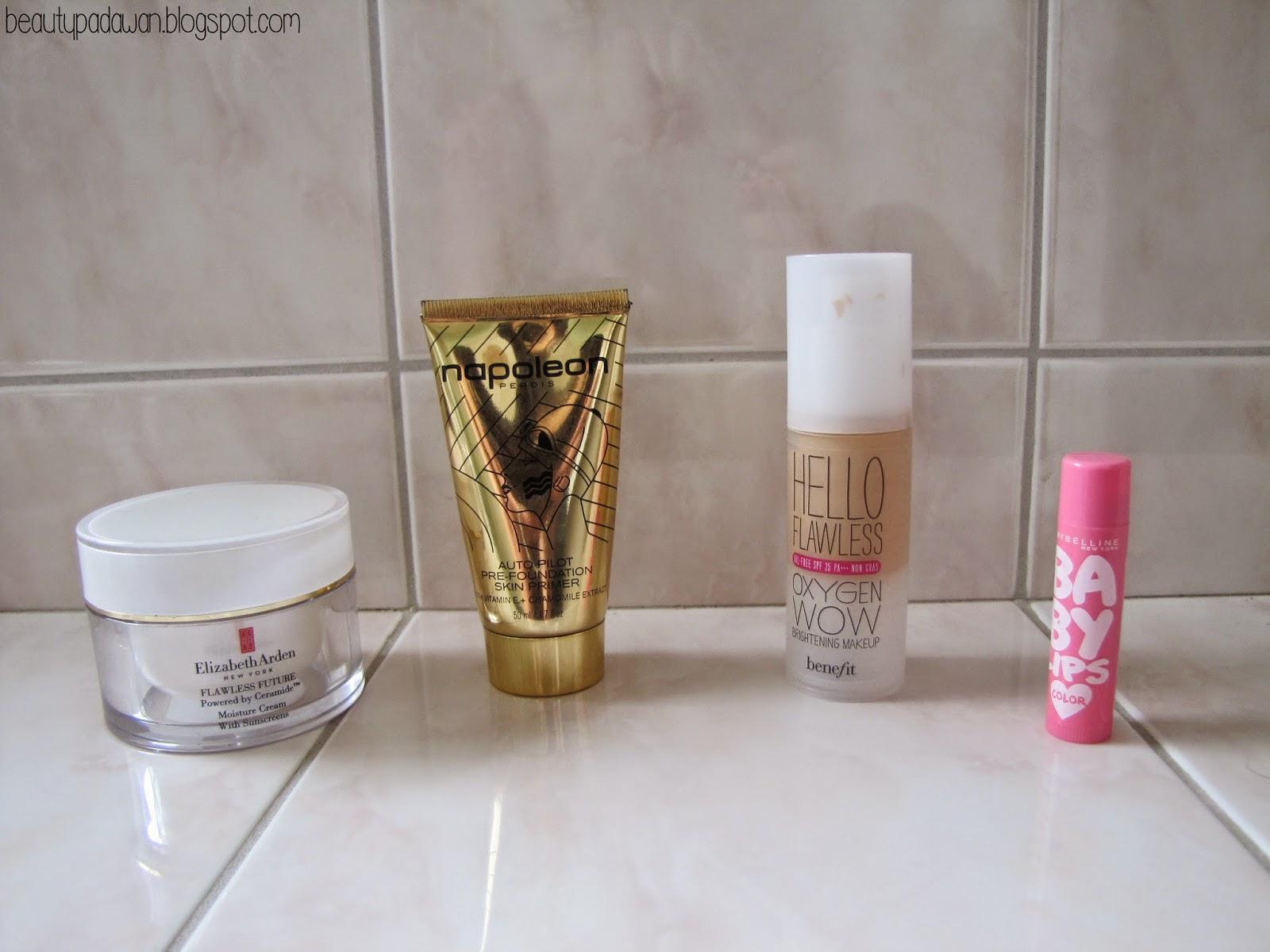 "Elizabeth Arden Flawless Future Moisture Cream; Napoleon Perdis Auto Pilot Pre-Foundation Skin Primer; Benefit Hello Flawless Oxygen WOW Foundation - ""Champagne""; Maybelline Baby Lips Lip Balm - ""Pink Lolita"""