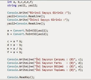 C# ile Basit Hesap Makinesi Programı