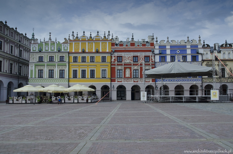 architecture of Zamosc, Poland. Renessaince ideal town