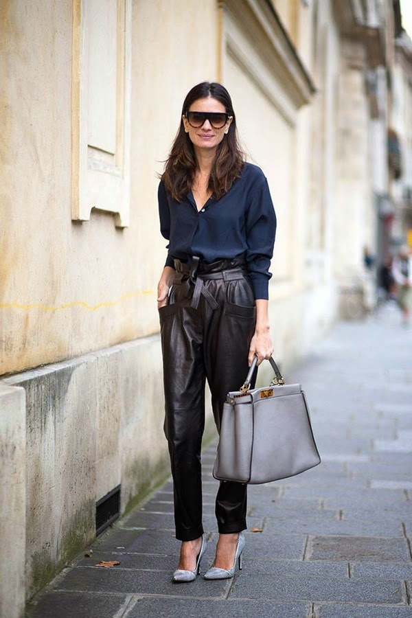 minimal edge chic - laila yavari pfw streetstyle navy botton down leather trrousers fendi peekaboo tote celine sunglasses