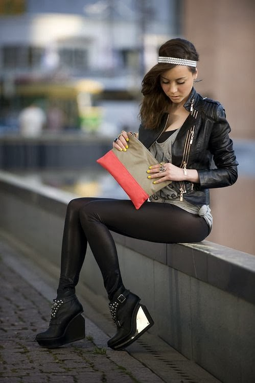 Black outfit combination - black jacket , leggings and high shoes