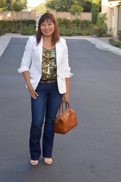Jeans and a blazer, J Crew Thompson Blazer, J Crew Iridescent Sequin Tank, Tory Burch Middy Robison Satchel