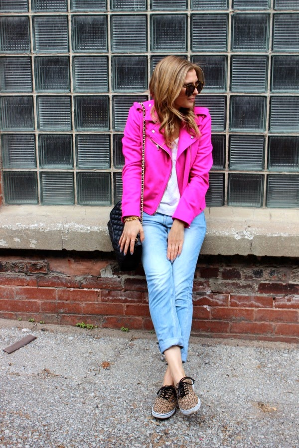 hot pink moto jacket