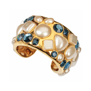 Vintage 1990's gold, pearl and blue rhinestone Chanel cuff bracelet.
