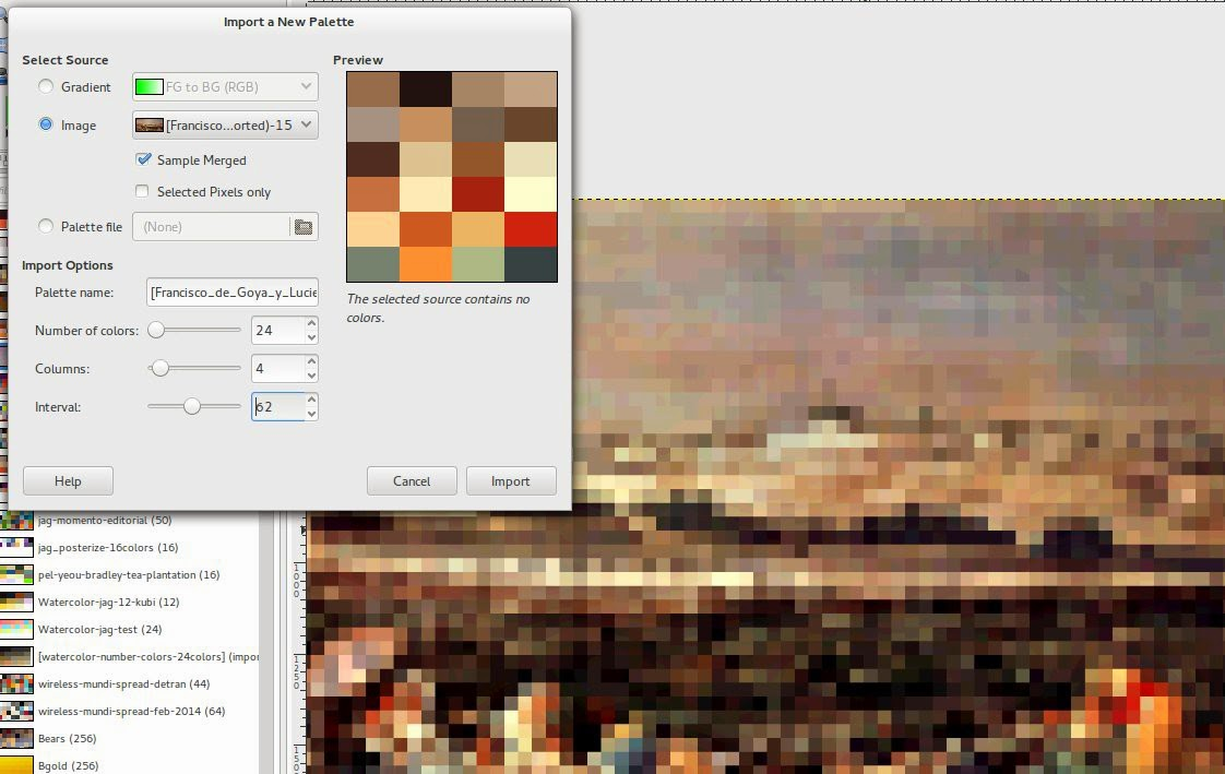 Technique using the GEGL pixelate and then importing the restricted palette of colors and proper range.