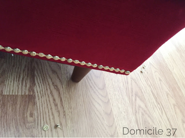 Decorative nailhead trim, DIY brass nailhead's on sofa, Decorative trim on couch