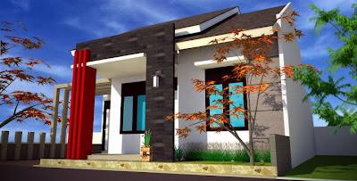 Rumah minimalis Tampak Samping Kiri, rumah minimalis Modern, kopel  type 70, 65, 56