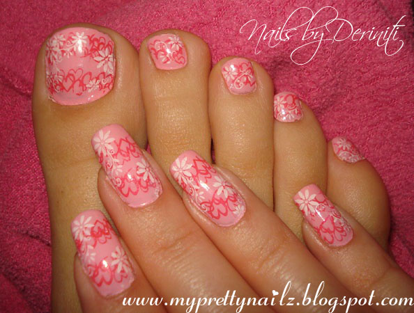 My Pretty Nailz Pink Hearts Flowers Valentines Day Mani And M53 M73 Nyc  Polyester Pink Creme