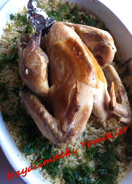 Fırında Tavuklu Bulgur Pilavı  tarifi,resimli Fırında Tavuklu Bulgur Pilavı  nasil yapilir