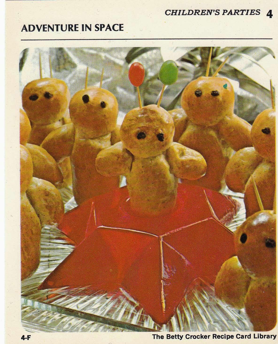Betty Crocker 1971 recipe cards: Kids party ideas, alien-shaped pastry