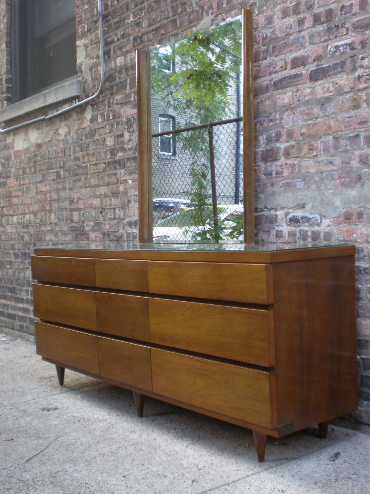 Mid Century Chicago Bassett 9 Drawer Lowboy Dresser With