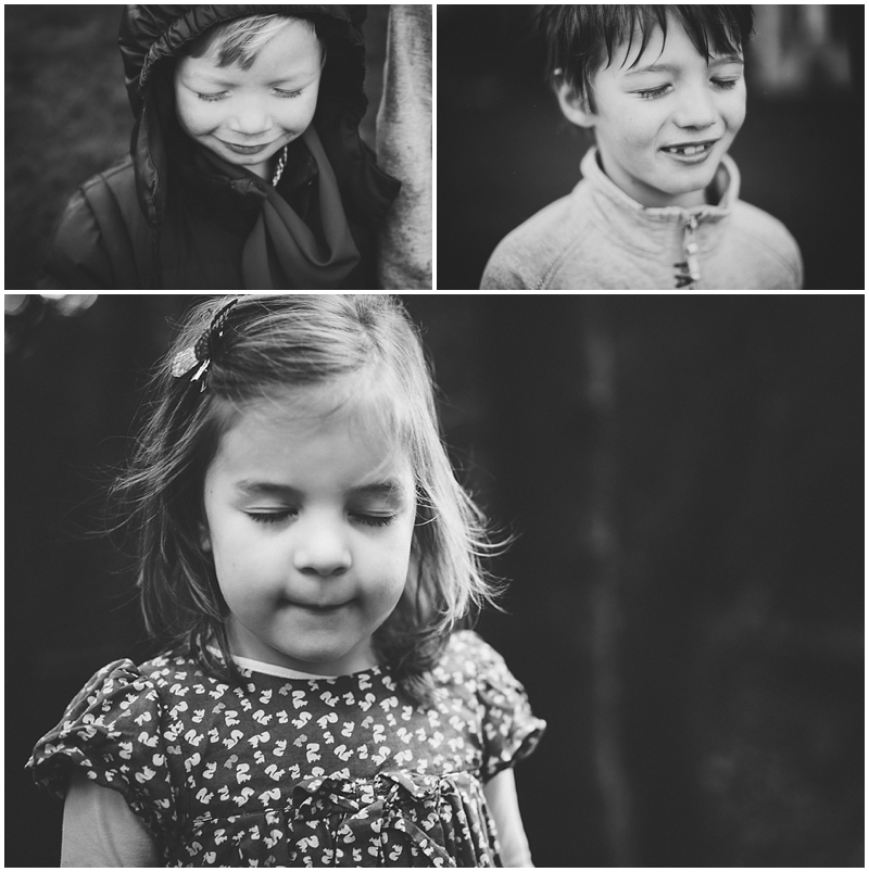 Black and white portraits of children with their eyes closed